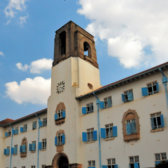 Front view of Makerere University in Kampala.